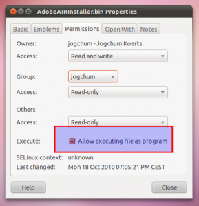 Set AdobeAIRInstaller.bin Execute Permissions to install Adobe AIR